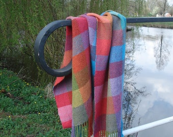 Scarf, 100% Alpaca Wool, Handwoven, in the colours of the rainbow