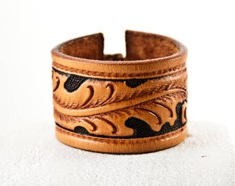 Leather Jewelry, Leather Cuff, Leather Bracelet, Tooled Leather, Vintage Leather, Brown Leather, Tan Leather