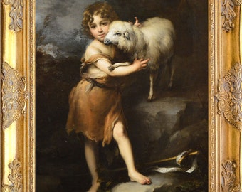 St. John the Baptist with Lamb Art Print, Framed, Murillo, Print on Canvas