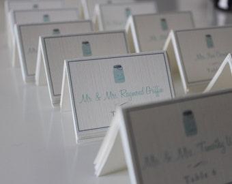 Mason Jar Wedding Placecards & Table number