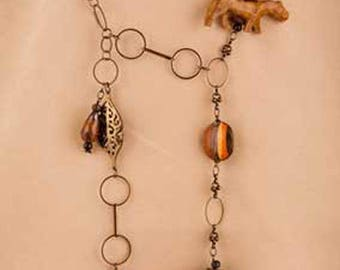Chain necklace, Ebony link chain jewelry, Gemstone jewelry,