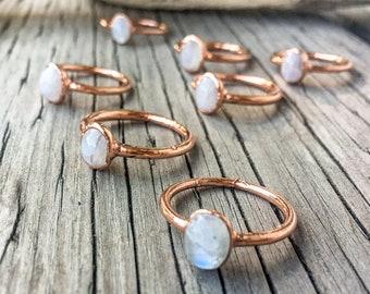 Moonstone Ring   June Birthstone   Engagement Ring   Crystal Ring   Electroformed Ring   Stone Ring   White Ring
