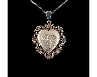 Vintage Silver Heart Locket With Beautiful Floral Decoration, Silver Lockets, Engraved Flowers, English Silver Hallmarks, Rare Lockets