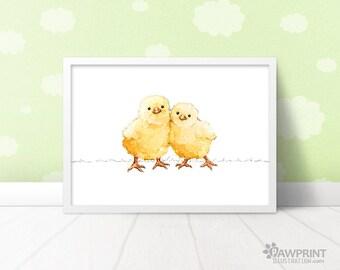 Baby twins chicks print - farm animal wall art baby chick print, twin nursery decor farm animal prints, twin animal nursery gift for twins