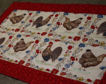 Red Chicken Rooster Floral  28 1/2 X 15 1/2  Table Runner Topper