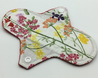 """Red Floral 7"""" Light Absorbency Cloth Pad, Reusable Cloth Pad, Cloth Menstrual Pad, Cloth Pantyliner,  Ecofriendly, Zerowaste"""