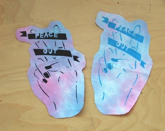 tie dye 'peace out' patch