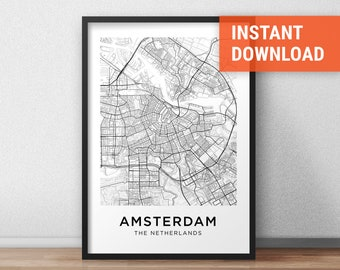 Amsterdam Map Print, Amsterdam Map Download, City Map Amsterdam, Amsterdam Street Map, Amsterdam Poster, Wall Art, Black And White City Map