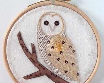 Metalwork Embroidery Barn Owl Kit