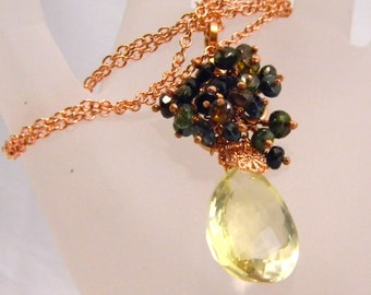 Green Tourmaline Cluster with Large Faceted Yellow Quartz Briolette
