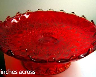 Amberina Pedestal Cake or Desert Plate  Mostly Orange