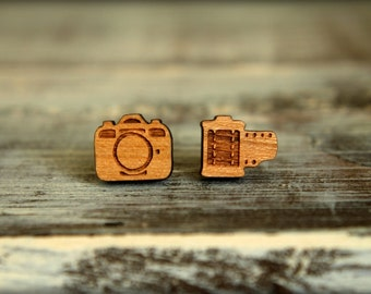 Camera and Film Studs, Laser Cut Wood Earrings, Retro Film Camera, Photographer Gift, Laser Etched Wood Studs, Christmas Birthday Gift
