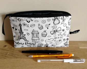 School Kit / school cotton coloring, and coated cotton Kit Paris - black and white