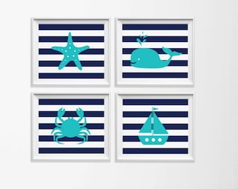 Nursery Art Nautical , Navy Turquoise Beach Nursery Art , Whale Crab Sailboat Nursery Art , Children  Beach Wall Art , Navy Boy Ocean Art