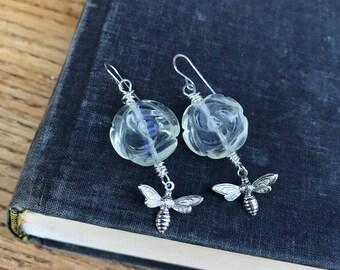 Quartz rose and bee earrings