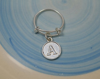 Silver Plated  Expandable Initial Ring....Choice of Initials