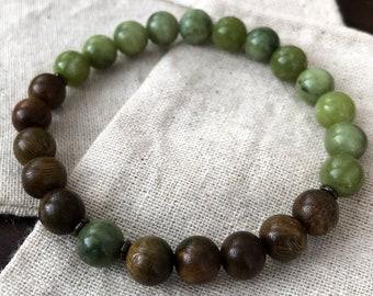 Mala Bracelet - Green Serpentine & Rosewood Beads