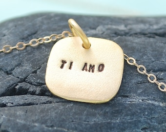 TI AMO necklace, eco-friendly, sterling silver 14kt gold vermeil.  Handcrafted by Chocolate and Steel