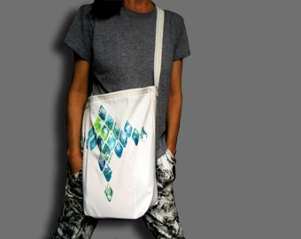 Unique white tote cotton canvas bag painted by hand Home machine sewn