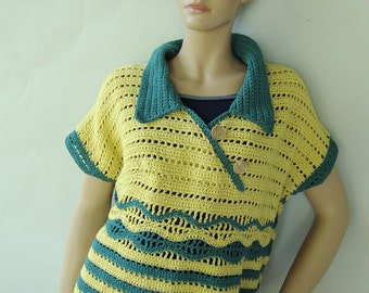 Polo Shirt, Crochet Sweater, Crochet Tops, Layering Piece, Yellow Sweater, Sweaters, Striped Yellow/Green Top, Available in XS/S and M/L