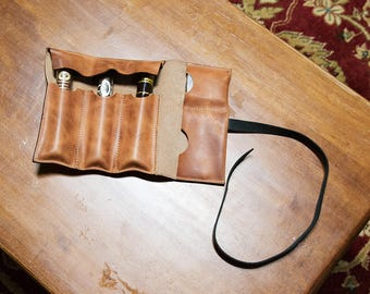 Leather cigar wallet, Groomsmen gift, Personalized cigar wallet with closing strap