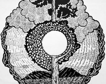 Tree of life: Rain Generation - Hand printed woodcut woodblock print