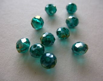 beads Briolette Crystal 6 x 4 mm faceted emerald green AB