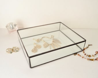 "Large Glass Box 10"" x 12"" , Glass Display Box, Glass Jewelry Box, Wedding Display Box, Clear Glass Jewelry Box. Made To Order"