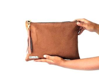 Brown large clutch, vegan suede clutch, large suede clutch, casual bag, suede bag, leather tassel clutch, faux suede clutch, portfolio bag