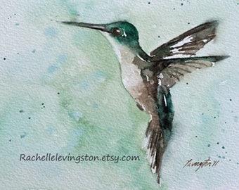 hummingbird print watercolor bird painting of hummingbird painting bird art PRINT