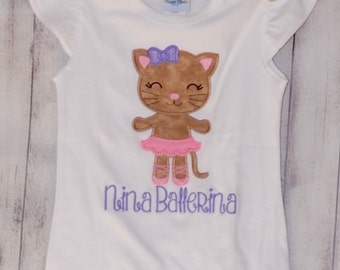 Personalized Kitty Ballerina Applique Shirt or Bodysuit Girl