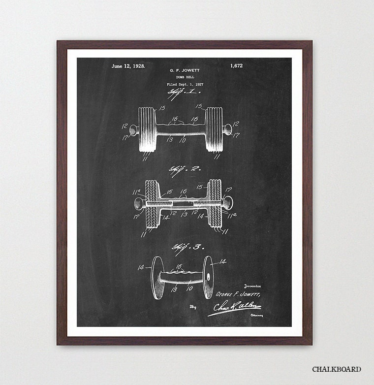Poster Weights Etsy: Dumbbell Patent Print Fitness Poster Weight Lifting Poster