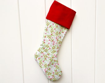 The Holly - Christmas Stocking ; handcrafted classic stocking for adults and children