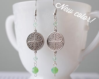 Vintage-style Art Nouveau Earrings with Swarovski Crystals or Jadeite Beads