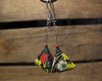 Triangles washi paper 3D origami earrings