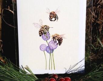 Honeybee Greeting Card - Honey bee Greeting Card - Bee Greeting Card - Bee Card - Greeting Cards-Spring Greeting Cards-Spring Cards-Art