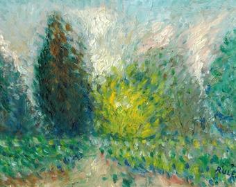 Fine Art Giclee Print: Spring Scene with Forsythia, 2014