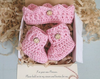 Baby Girl Reveal, Crown and Booties in a Box® Set, Grandparent Reveal, Princess Reveal, Baby Girl Gift, Gender Reveal, Ready to Ship