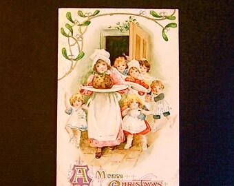 RARE Vintage Winsch Christmas Post Card, Figgy Pudding