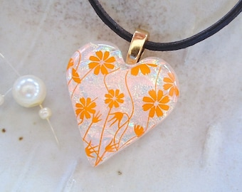 Orange Necklace, Peach, Dichroic Heart Pendant, Fused Jewelry, Necklace Included, A4