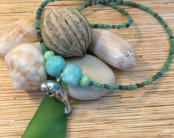 Beaded Sea Glass Manatee Necklace
