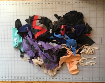 Felted Cashmere Cutter Scraps Purple Black Blue Orange #6 - 2 gallon bag
