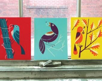 "Birds of Play screenprinted art prints - set of three 10"" x 8"" prints"
