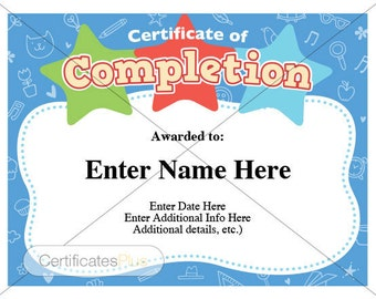certificates of completion for kids