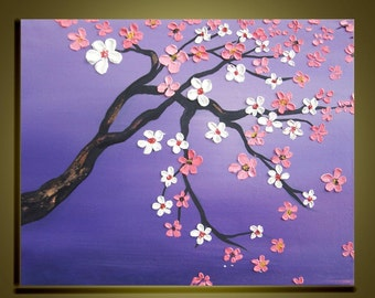 Cherry blossom tree Oil Painting Original Impasto Palette Knife art on Canvas Ready to Hang by Qujun