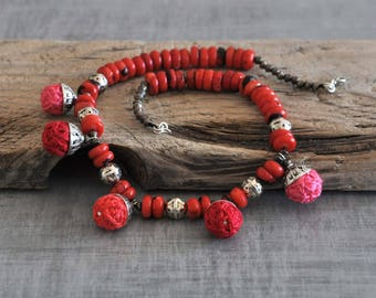 Coral Tribal Necklace,  Red Bohemian Necklace,  Beaded Boho Necklace,  Statement Charmed Necklace,  Gemstone Necklace