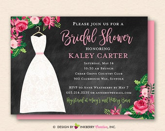 Bridal Shower Invitation - Chalkboard Floral Wedding Dress Bridal Shower Invitation - Printable, Instant Download, Editable, PDF