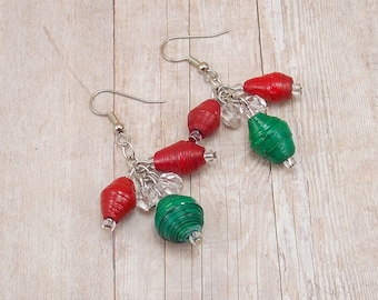 Rwandan Paper Bead Earrings - Cluster - Red and Green with Clear and Silver - Christmas