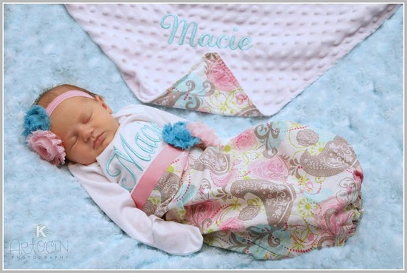 Personalized Newborn Girl Take Home Outfit Baby Girl Clothes