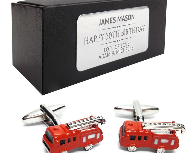 Fire engine fireman CUFFLINKS 30th, 40th, 50th, 60th, 70th birthday gift, presentation box PERSONALISED ENGRAVED plate - 008